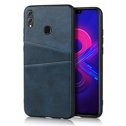 Simple Calf Card Slots Mobile Phone Back Cover for Huawei Honor 8X - Blue