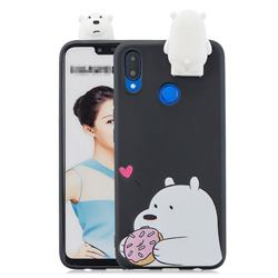 Big White Bear Soft 3D Climbing Doll Stand Soft Case for Huawei Honor 8X