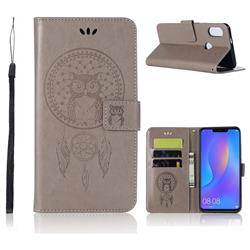 Intricate Embossing Owl Campanula Leather Wallet Case for Huawei Honor 8X - Grey