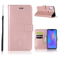 Intricate Embossing Owl Campanula Leather Wallet Case for Huawei Honor 8X - Rose Gold