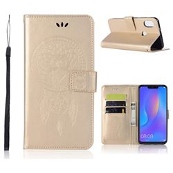 Intricate Embossing Owl Campanula Leather Wallet Case for Huawei Honor 8X - Champagne