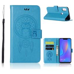 Intricate Embossing Owl Campanula Leather Wallet Case for Huawei Honor 8X - Blue