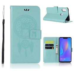 Intricate Embossing Owl Campanula Leather Wallet Case for Huawei Honor 8X - Green