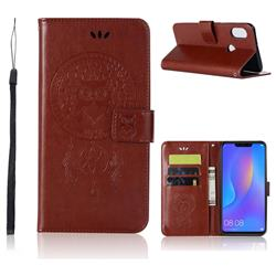 Intricate Embossing Owl Campanula Leather Wallet Case for Huawei Honor 8X - Brown