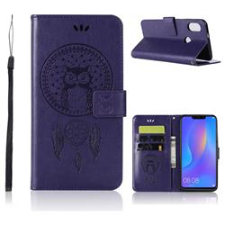 Intricate Embossing Owl Campanula Leather Wallet Case for Huawei Honor 8X - Purple