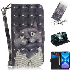Cat Embrace 3D Painted Leather Wallet Phone Case for Huawei Honor 8X