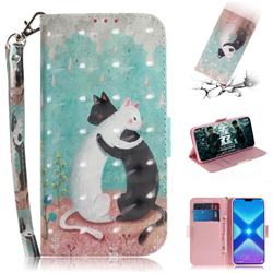 Black and White Cat 3D Painted Leather Wallet Phone Case for Huawei Honor 8X