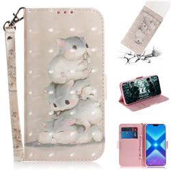 Three Squirrels 3D Painted Leather Wallet Phone Case for Huawei Honor 8X