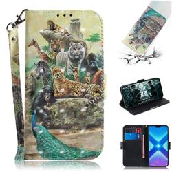 Beast Zoo 3D Painted Leather Wallet Phone Case for Huawei Honor 8X