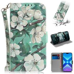 Watercolor Flower 3D Painted Leather Wallet Phone Case for Huawei Honor 8X