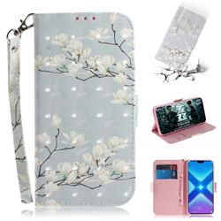 Magnolia Flower 3D Painted Leather Wallet Phone Case for Huawei Honor 8X