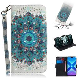 Peacock Mandala 3D Painted Leather Wallet Phone Case for Huawei Honor 8X