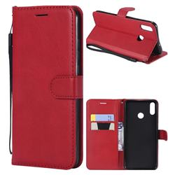 Retro Greek Classic Smooth PU Leather Wallet Phone Case for Huawei Honor 8X - Red