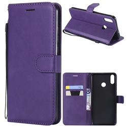 Retro Greek Classic Smooth PU Leather Wallet Phone Case for Huawei Honor 8X - Purple