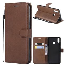 Retro Greek Classic Smooth PU Leather Wallet Phone Case for Huawei Honor 8X - Brown