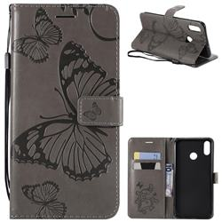 Embossing 3D Butterfly Leather Wallet Case for Huawei Honor 8X - Gray