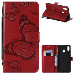 Embossing 3D Butterfly Leather Wallet Case for Huawei Honor 8X - Red