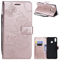 Embossing 3D Butterfly Leather Wallet Case for Huawei Honor 8X - Rose Gold