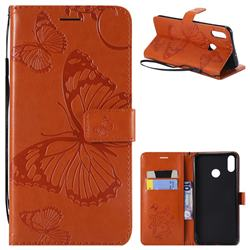 Embossing 3D Butterfly Leather Wallet Case for Huawei Honor 8X - Orange