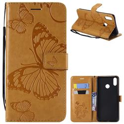 Embossing 3D Butterfly Leather Wallet Case for Huawei Honor 8X - Yellow