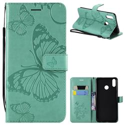 Embossing 3D Butterfly Leather Wallet Case for Huawei Honor 8X - Green