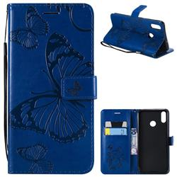 Embossing 3D Butterfly Leather Wallet Case for Huawei Honor 8X - Blue