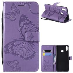 Embossing 3D Butterfly Leather Wallet Case for Huawei Honor 8X - Purple