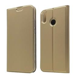 Ultra Slim Card Magnetic Automatic Suction Leather Wallet Case for Huawei Honor 8X - Champagne