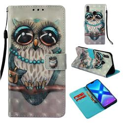 Sweet Gray Owl 3D Painted Leather Wallet Case for Huawei Honor 8X