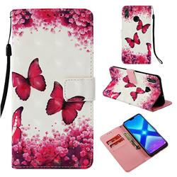 Rose Butterfly 3D Painted Leather Wallet Case for Huawei Honor 8X