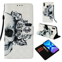 Skull Flower 3D Painted Leather Wallet Case for Huawei Honor 8X