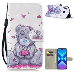 Love Panda 3D Painted Leather Wallet Phone Case for Huawei Honor 8X