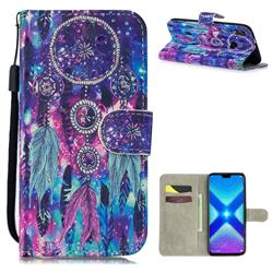 Star Wind Chimes 3D Painted Leather Wallet Phone Case for Huawei Honor 8X