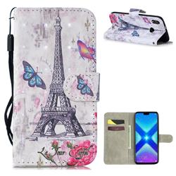 Paris Tower 3D Painted Leather Wallet Phone Case for Huawei Honor 8X