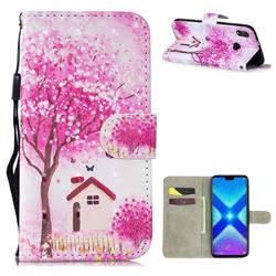Tree House 3D Painted Leather Wallet Phone Case for Huawei Honor 8X