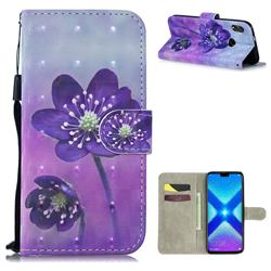 Purple Flower 3D Painted Leather Wallet Phone Case for Huawei Honor 8X