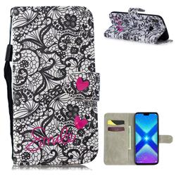 Lace Flower 3D Painted Leather Wallet Phone Case for Huawei Honor 8X