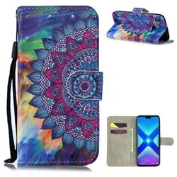 Oil Painting Mandala 3D Painted Leather Wallet Phone Case for Huawei Honor 8X