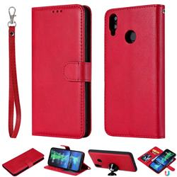 Retro Greek Detachable Magnetic PU Leather Wallet Phone Case for Huawei Honor 8X - Red