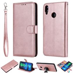 Retro Greek Detachable Magnetic PU Leather Wallet Phone Case for Huawei Honor 8X - Rose Gold