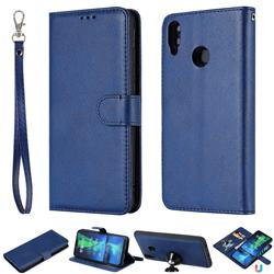 Retro Greek Detachable Magnetic PU Leather Wallet Phone Case for Huawei Honor 8X - Blue