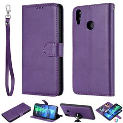 Retro Greek Detachable Magnetic PU Leather Wallet Phone Case for Huawei Honor 8X - Purple