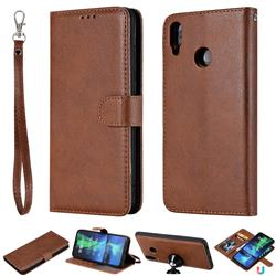 Retro Greek Detachable Magnetic PU Leather Wallet Phone Case for Huawei Honor 8X - Brown
