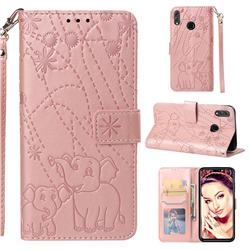 Embossing Fireworks Elephant Leather Wallet Case for Huawei Honor 8X - Rose Gold
