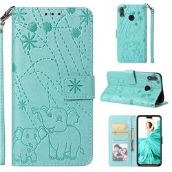 Embossing Fireworks Elephant Leather Wallet Case for Huawei Honor 8X - Green