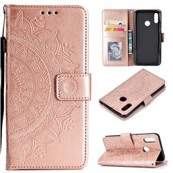 Intricate Embossing Datura Leather Wallet Case for Huawei Honor 8X - Rose Gold