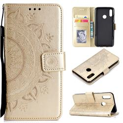 Intricate Embossing Datura Leather Wallet Case for Huawei Honor 8X - Golden