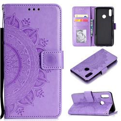 Intricate Embossing Datura Leather Wallet Case for Huawei Honor 8X - Purple