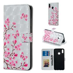 Butterfly Sakura Flower 3D Painted Leather Phone Wallet Case for Huawei Honor 8X