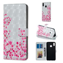 Cherry Blossom 3D Painted Leather Phone Wallet Case for Huawei Honor 8X